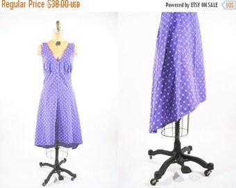 "FINAL SALE 1970s sundress | altered purple halter high low hem sundress | vintage 70s dress | W 30"""