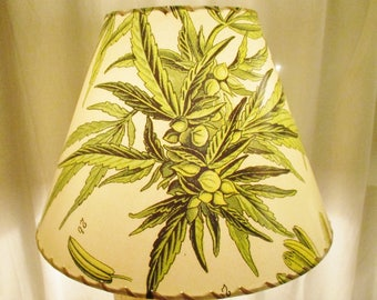 Cannabis Lamp Shade, Botanist Print Marijuana Leaf Lampshade, Washer Top Lamp Shade, Cannabis Sativa, Weed, Green Leaf, Botanical Lampshade