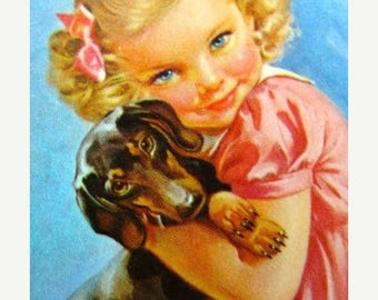 ON SALE Adorable little Girl with her Dachshund Doxie Weiner Dog Puppy Dog Cards for Altered Art
