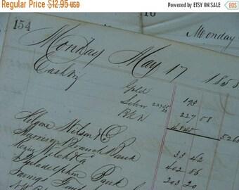 ONSALE Antique Beautiful Hand written 1850s Ledger lot