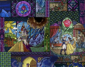 Beauty & The Beast Stained Glass Cotton Fabric by the yard and by the half yard