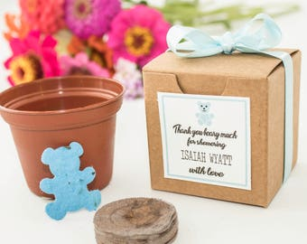 Plantable Seed Paper Teddy Bear Baby Shower Favors - Baby Boy, Girl, or Gender Neutral Baby Shower Favor, Set of 12 Bears, Personalized Tags