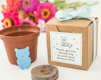 Plantable Owl Baby Shower Favor Garden Gift Set, Seed Paper Owl, 1st Birthday Party Favor, Great Boy, Girl, or Unknown Gender Baby Showers