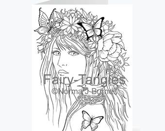 Printable Fairy Tangles Greeting Cards to Color by Norma J Burnell butterfly fairy coloring card for Card Making and Adult Coloring
