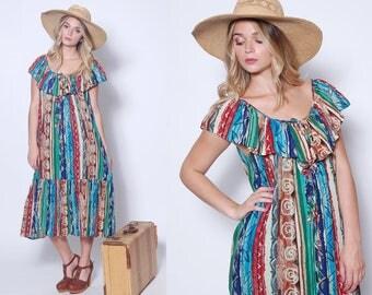 Vintage 70s RUFFLE Sundress 80s ETHNIC Print Dress Boho Sun Dress Hippie Dress TENT Dress