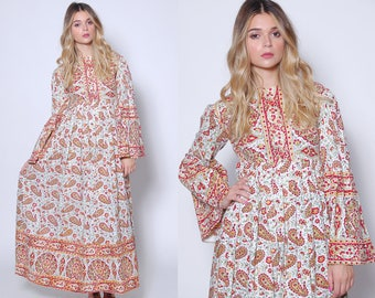 Vintage 70s INDIAN Cotton Dress Boho Maxi Dress Hippie Dress BLOCK PRINT Dress