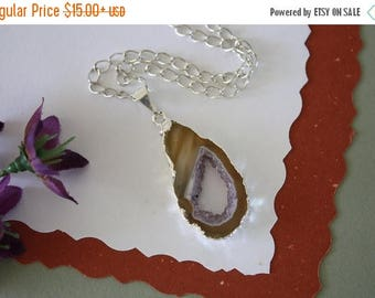 ON SALE Geode Necklace Silver, Crystal Necklace, Geode Agate Slice, Druzy Pendant, Natural Geode, GS85
