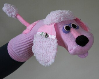 SALE Handmade Couture Pink Poodle Sock Puppet