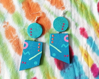 turquoise and blue wackadoodle geometric glitter handpainted wooden drop earrings