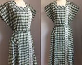 Vintage 1940s 1960s NOS Deadstock Olive Greed Plaid and Floral Top Mode Frocks Dress with Tag Size XL