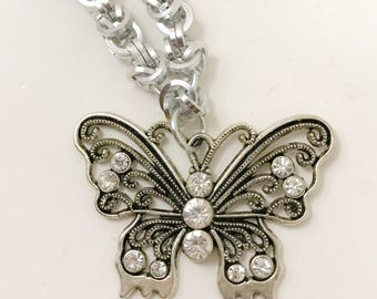 Dressy Byzantine Weave Butterfly Pendant Chainmaille Necklace