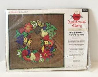 Crewel Embroidery Kit/ 70s Decor/ Wall Hanging