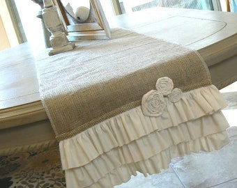 Cottage Chic  Burlap Ruffled Table runner  with Cream Ruffles and Fabric Rosettes