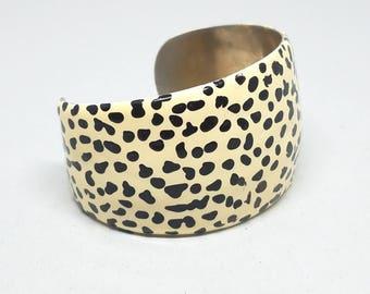 Beige and Black Spot Vintage Wide  Metal Bangle Bracelet