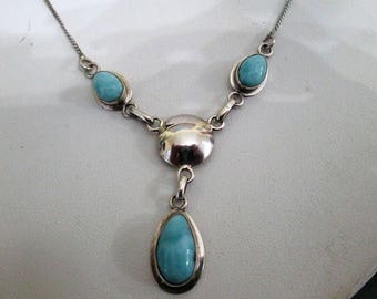 NECKLACE - TRIPLE LARIMAR    -  Sterling Silver - Estate Sale -   18 inch  chain necklace351