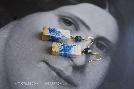 Earrings Portugal Blue Tile AZULEJO Gold Leaf DIPPED Great View of Lisbon 1700 pre-earthquake tsunami Czech Glass Beads