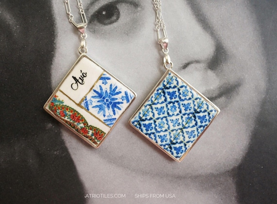 Silver Necklace Avo Grandmother Portugal Tile Azulejo Portuguese Antique Porto Blue  - Framed - Gift Box - Reversible SHIPS from USA 1639