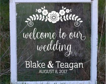 Wedding decal, welcome sticker, personalized, chalkboard decal, rustic design, flowers, welcome to our wedding, vinyl letters, bride & groom