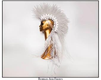 Illuminated.... Mohawk in White Crinoline with Studs Rhinestones Coins Festival Wear