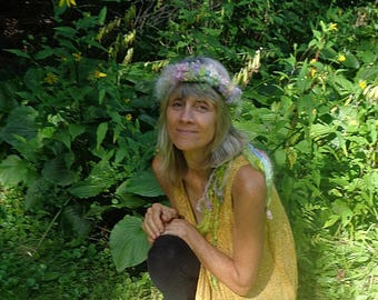 hand knit art yarn felted wool flower headband -   flower faerie crown