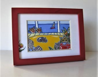 "Original acrylic cats painting, red frame, 8"" x 6"", beach cottage decor, Sailboat, seascape, Nautical, hand painted mat, gift idea"