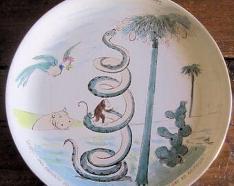 Antique Plate French Sarreguemines Monkey Snake Bird Hippo 2 of 3