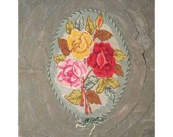 Antique Flapper Pillow Top Roses Boudoir Petitpoint Needlepoint