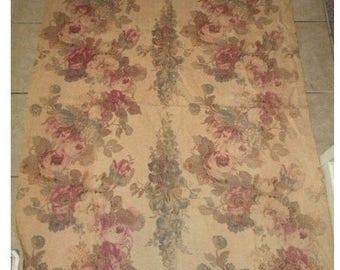 Vintage Barkcloth Fabric Roses Boudoir Cotton