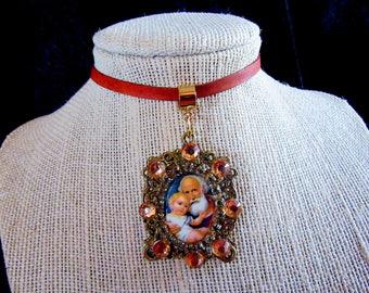 Catholic St. Joseph Vintage Cameo Religious Pendant Handmade Leather Choker Necklace