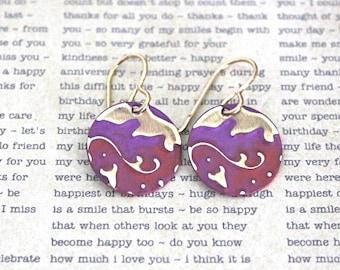 Small Petite Earrings, Vintaj Earrings, Pink Purple Jewelry, Boho Jewelry, Dainty Jewelry, Patina Jewelry, Brass Jewelry, Lily Damask