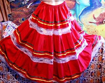 Mexican Skirt, Folk skirt, Festival skirt, Fiesta skirt, Cinco de mayo, Frida Kahlo, size XL