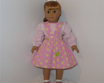 "Pink Corduroy Jumper and Blouse, Fits 18"" Dolls // AG Doll Clothes, AG Jumper, Blouse, Pink Dress"