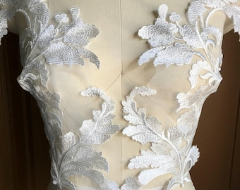 IVORY Beaded Lace Applique PAiR for Bridal Illusion Gowns, Garments, Costume Design PR 328