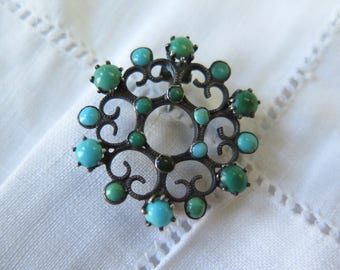 Antique Turquoise and Silver Brooch  Victorian Era