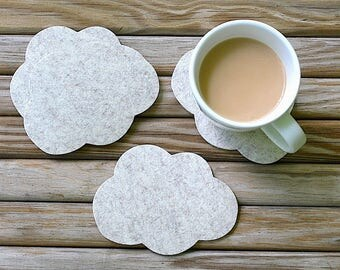 Cloud Drink Coasters Thick Wool Felt Coaster Set Unique, Cute, Fun and Absorbent Coasters for Drinks