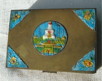 Man Cave Antique Box, 1920s Chinese Enamel Cloisonne Cigarette Box, Asian BRASS, Hinged Cedar Lined Trinket, Stash, or Cigar Box, Tobacciana
