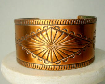 Solid Copper Cuff, Southwest Cowgirl 1980s, Marked SOLID Copper Inside, Traditional Native American Pueblo Design
