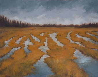 "String Bog in Winter - Original Yellow Marsh Landscape Oil Painting - 22"" x 28"" Canvas"
