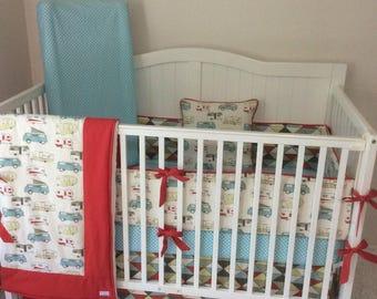 Baby Bedding Aqua Red Green Retro Camper Crib Set Made to Order