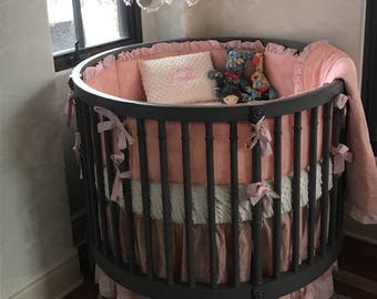 Elegant Blush Pink and Cream Ruffled Princess Round Crib Bedding Set