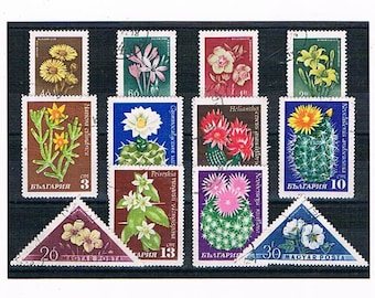 Flowering Cactus Postage Stamps, retro flower stamps | vintage floral & cacti succulent illustrations - 1950s 1960s postal stamp collection