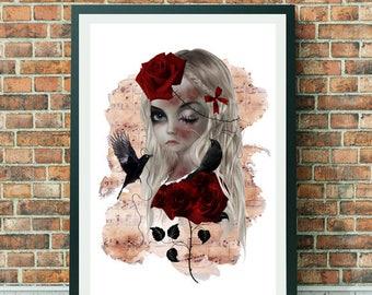 Goth Girl Portrait - Goth Girl Art Print - Portrait Print - Gothic Girl Art - A3 Art Print - Wall Decor - Wild Rose