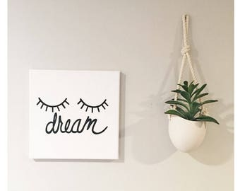 Dream Eyes - Hand painted Canvas - bedroom painting decor home house dwell wall hanging decoration black gold paint art work