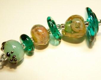 DESTASH -- Coordinating Set of Six (6) Lampwork Borosilicate Beads: Teal Green, Pale Pink, Champagne -- Lot 3N