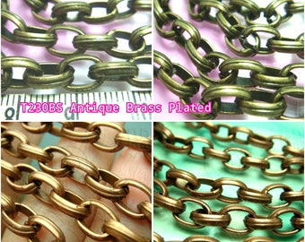 clearance -40% / T230 / 2meter *6.5feet / Oval Link 9mm x 6.5mm - Chunky Opened Oval-Link Chain Findings.