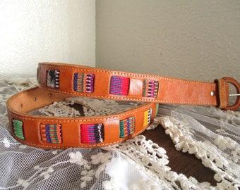 Vintage Woven Guatemalan Belt Southwestern Tribal Belt Colorful Ethnic Leather Belt Size 38 Woven Fabric Inlay