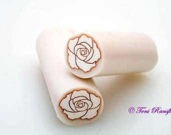 White Rose with Gold Outline Polymer Clay Cane, Raw polymer Clay Cane, Millefiori Polymer Clay