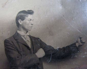 Antique Tintype of a Bare Knuckle Boxer, Occupational Photograph AsIs