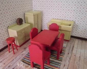 """Vintage Dollhouse Kitchen Set - Strombecker Kitchen from 1938 - 3/4"""" Scale"""