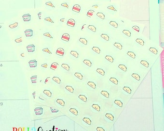 Cute Kawaii Junk Food Stickers - Kawaii Stickers.  Planner Stickers